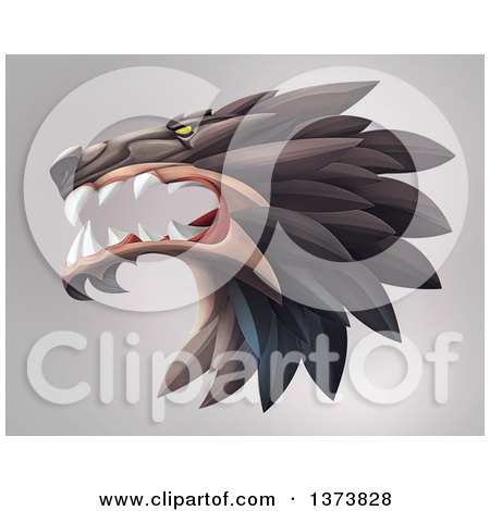 Clipart of a Fierce Wolf Head in Profile, on a Gradient Background - Royalty Free Illustration by Tonis Pan