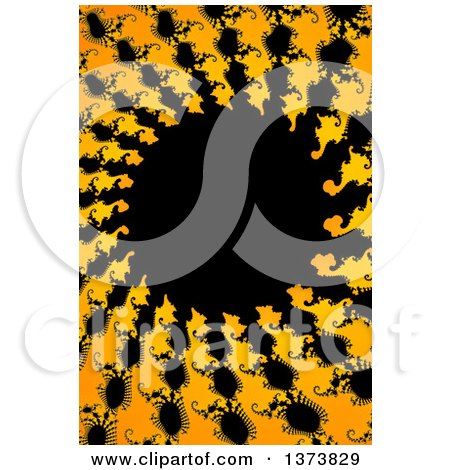 Clipart of a Black Yellow and Orange Abstract Fractal Spiral Background - Royalty Free Illustration by oboy
