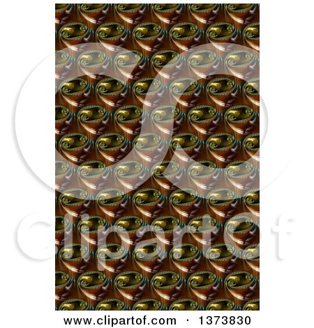 Clipart of a Brown and Black Glass Abstract Fractal Pattern Background - Royalty Free Illustration by oboy