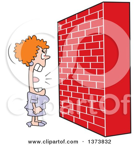 Clipart of a Mad White Woman Screaming at a Brick Wall - Royalty Free Vector Illustration by Johnny Sajem