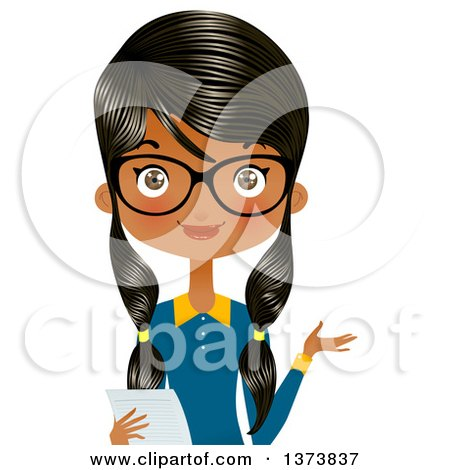 Clipart of a Happy Black Female Office Secretary Wearing Glasses, Presenting and Holding a Piece of Paper - Royalty Free Vector Illustration by Melisende Vector