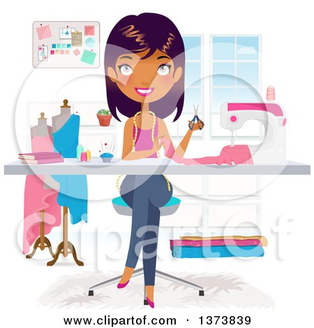 Clipart of a Beautiful Black Fashion Designer Making a Dress in Her Office - Royalty Free Vector Illustration by Melisende Vector