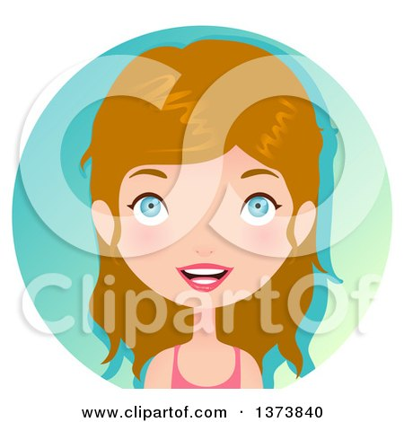 Clipart of a Blue Eyed, Blond White Girl Smiling over a Gradient Circle - Royalty Free Vector Illustration by Melisende Vector
