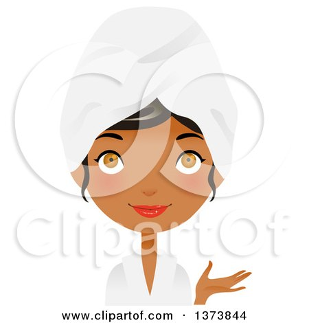 Clipart of a Hazel Eyed, Black Girl Presenting and Wearing a Spa Robe and Towel on Her Head - Royalty Free Vector Illustration by Melisende Vector