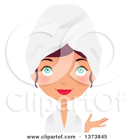 Clipart of a Green Eyed, Brunette White Girl Presenting and Wearing a Spa Robe and Towel on Her Head - Royalty Free Vector Illustration by Melisende Vector