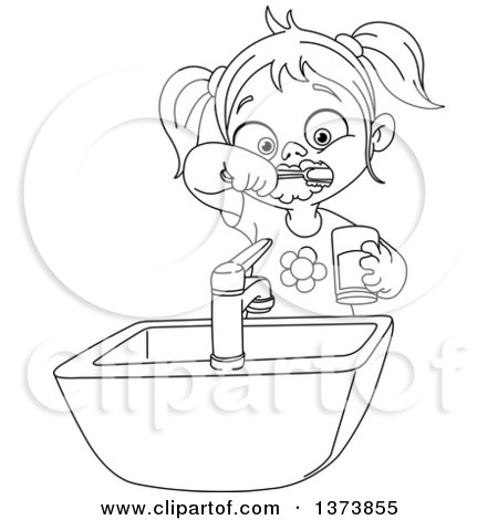Clipart of a Black and White Lineart Girl Brushing Her Teeth - Royalty Free Vector Illustration by yayayoyo