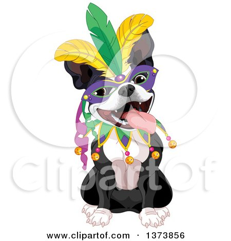 Clipart of a Cute Mardi Gras Boston Terrier Dog Wearing a Mask - Royalty Free Vector Illustration by Pushkin