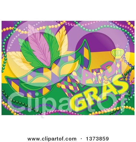 Clipart of a Purple Yellow and Green Mardi Gras Flag Background with a Mask, Text and Beads - Royalty Free Vector Illustration by Pushkin