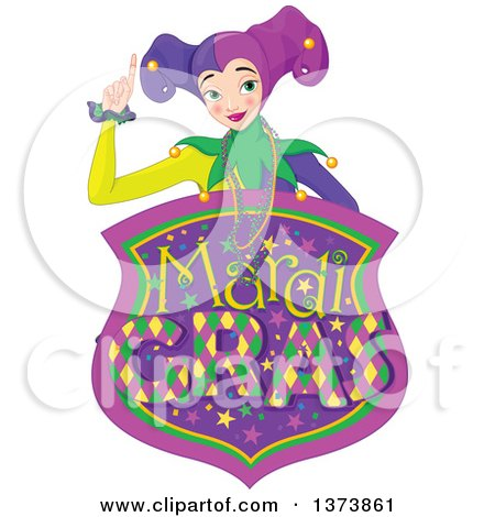 Clipart of a Mardi Gras Jester Woman Holding up a Finger over a Shield - Royalty Free Vector Illustration by Pushkin