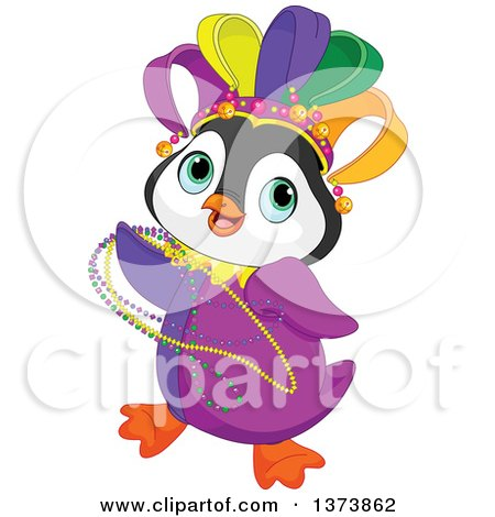 Clipart of a Cute Mardi Gras Penguin Dancing with Beads - Royalty Free Vector Illustration by Pushkin