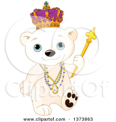 Clipart of a Cute Mardi Gras Polar Bear Cub King Walking with Beads and a Sceptre - Royalty Free Vector Illustration by Pushkin