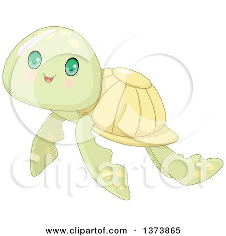 Clipart of a Cute Baby Sea Turtle with Big Green Eyes - Royalty Free Vector Illustration by Pushkin
