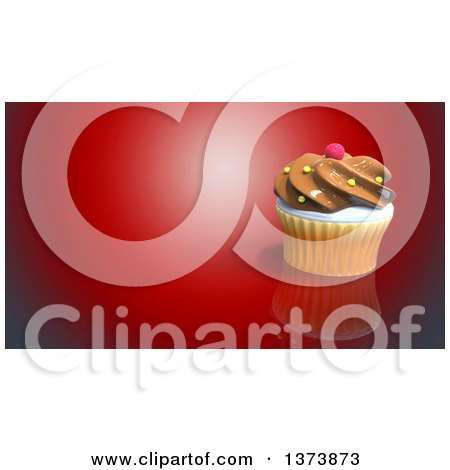 Clipart of a 3d Cupcake on a Red Background with Text Space - Royalty Free Illustration by Julos