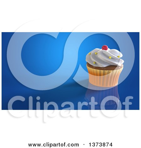 Clipart of a 3d Cupcake on a Blue Background with Text Space - Royalty Free Illustration by Julos