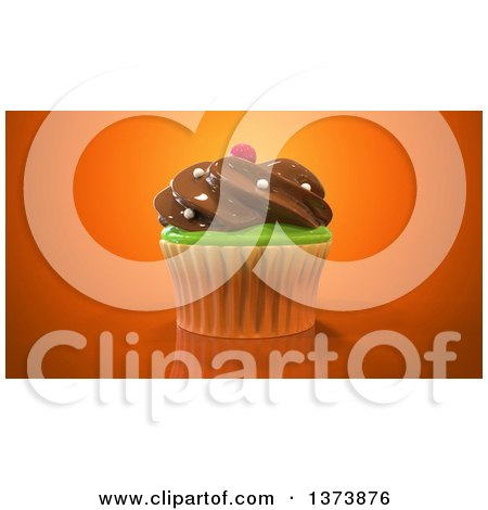 Clipart of a 3d Cupcake on an Orange Background - Royalty Free Illustration by Julos