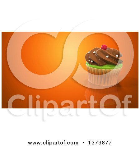 Clipart of a 3d Cupcake on an Orange Background with Text Space - Royalty Free Illustration by Julos