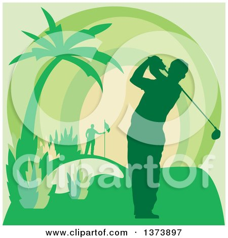 Clipart of a Green Silhouetted Male Golfer Swining on a Course, with a Palm Tree and Sunset - Royalty Free Vector Illustration by Andy Nortnik