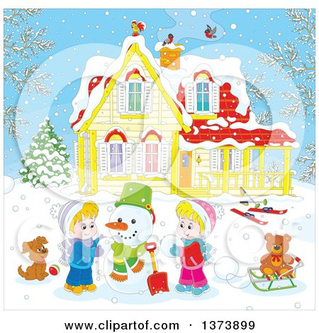 Clipart of Blond White Children Making a Snowman in the Front Yard of a Home on a Winter Day - Royalty Free Vector Illustration by Alex Bannykh