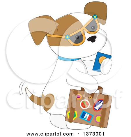 Clipart of a Cute Traveling Puppy Dog Wearing Sunglasses, Holding a Passport and Carrying a Suitcase - Royalty Free Vector Illustration by Maria Bell
