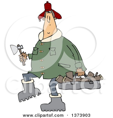 Cartoon Clipart of a Chubby White Man in a Winter Coat and Hat, Walking and Carrying Firewood and an Axe - Royalty Free Vector Illustration by djart