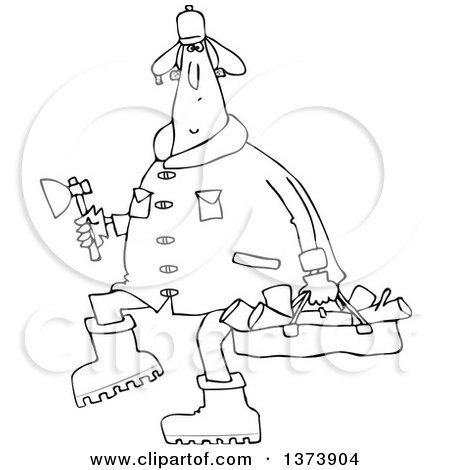 Cartoon Clipart of a Black and White Chubby Man in a Winter Coat and Hat, Walking and Carrying Firewood and an Axe - Royalty Free Vector Illustration by djart