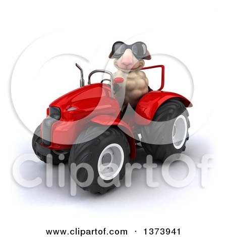 Clipart of a 3d Sheep Operating a Tractor, on a White Background - Royalty Free Illustration by Julos