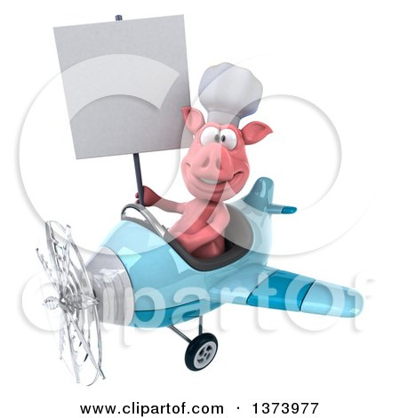 Clipart of a 3d Pig Aviator Pilot Flying an Airplane, on a White Background - Royalty Free Illustration by Julos