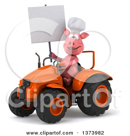 Clipart of a 3d Pig Operating a Tractor, on a White Background - Royalty Free Illustration by Julos