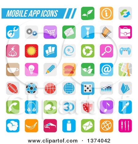 Clipart of Colorful Square Mobile App Icons with Rounded Corners - Royalty Free Vector Illustration by cidepix