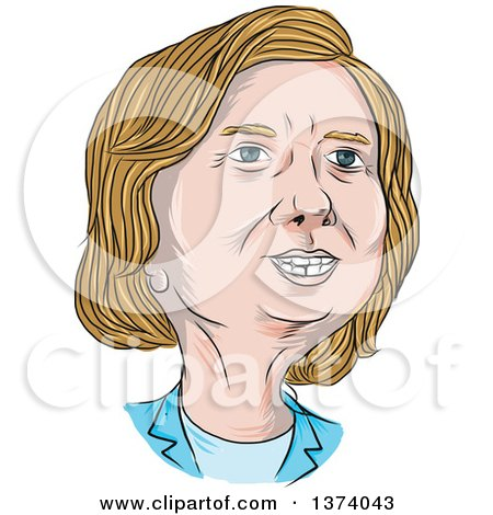 Clipart of a Sketched Caricature of Hillary Clinton - Royalty Free Vector Illustration by patrimonio