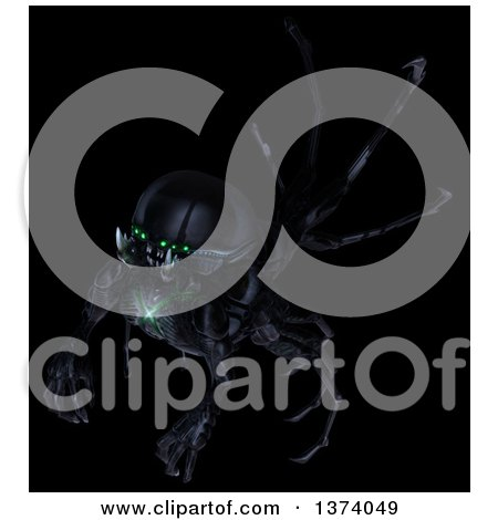 Clipart of an Underground Alien or Monster, on a Black Background - Royalty Free Illustration by Leo Blanchette