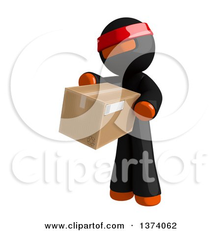 Clipart of an Orange Man Ninja Holding a Box, on a White Background - Royalty Free Illustration by Leo Blanchette