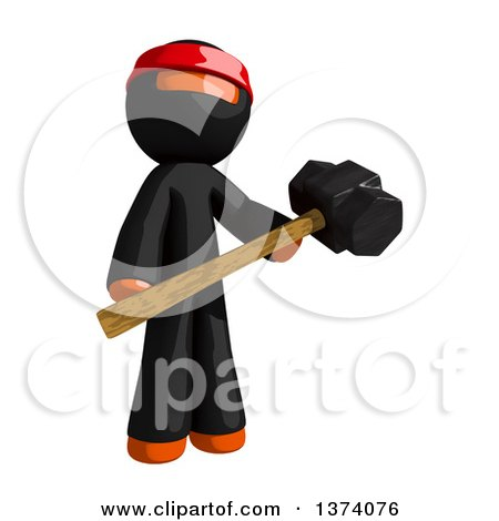 Clipart of an Orange Man Ninja Holding a Sledgehammer, on a White Background - Royalty Free Illustration by Leo Blanchette