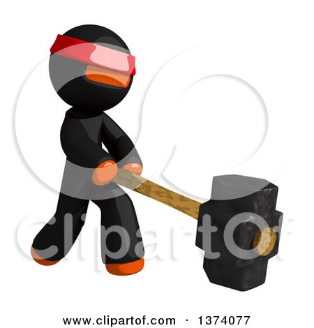 Clipart of an Orange Man Ninja Swinging a Sledgehammer, on a White Background - Royalty Free Illustration by Leo Blanchette