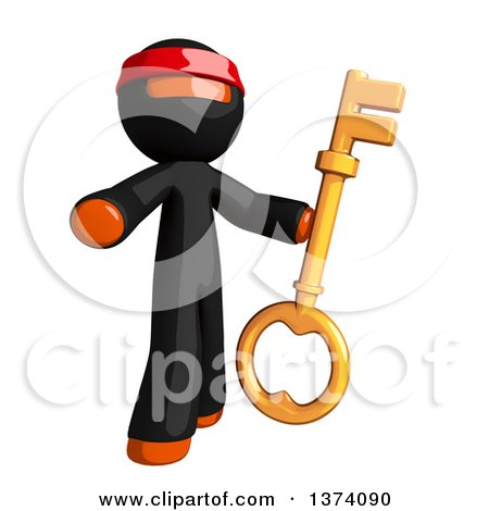 Clipart of an Orange Man Ninja Holding a Key, on a White Background - Royalty Free Illustration by Leo Blanchette