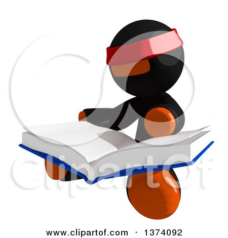 Clipart of an Orange Man Ninja Reading a Book, on a White Background - Royalty Free Illustration by Leo Blanchette