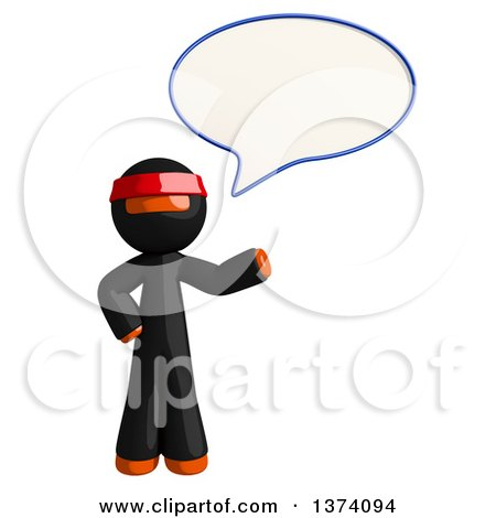 Clipart of an Orange Man Ninja Talking, on a White Background - Royalty Free Illustration by Leo Blanchette