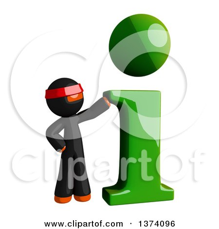 Clipart of an Orange Man Ninja with an I Information Icon, on a White Background - Royalty Free Illustration by Leo Blanchette