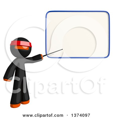 Clipart of an Orange Man Ninja Pointing to a White Board, on a White Background - Royalty Free Illustration by Leo Blanchette