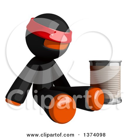 Clipart of an Orange Man Ninja Begging and Sitting with a Can, on a White Background - Royalty Free Illustration by Leo Blanchette