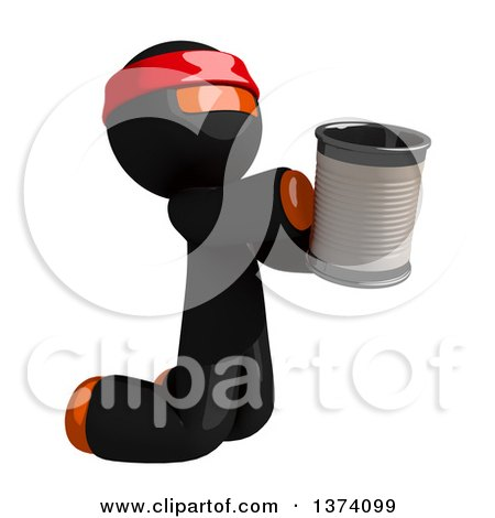 Clipart of an Orange Man Ninja Begging and Kneeling with a Can, on a White Background - Royalty Free Illustration by Leo Blanchette