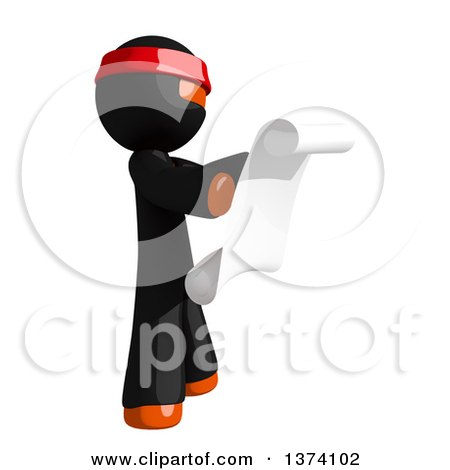 Clipart of an Orange Man Ninja Reading a Scroll, on a White Background - Royalty Free Illustration by Leo Blanchette