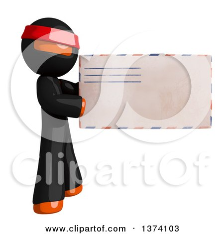 Clipart of an Orange Man Ninja Holding an Envelope, on a White Background - Royalty Free Illustration by Leo Blanchette