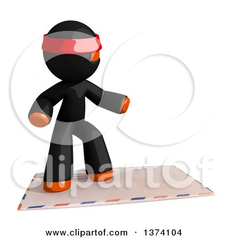Clipart of an Orange Man Ninja Surfing on an Envelope, on a White Background - Royalty Free Illustration by Leo Blanchette
