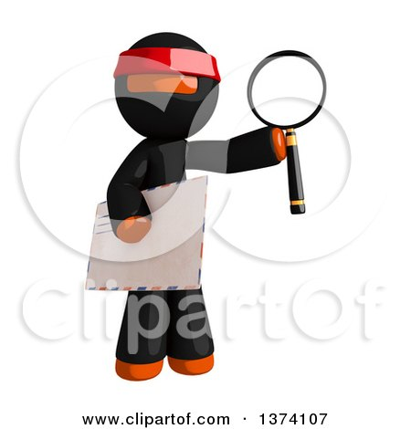 Clipart of an Orange Man Ninja Holding an Envelope and Magnifying Glass, on a White Background - Royalty Free Illustration by Leo Blanchette