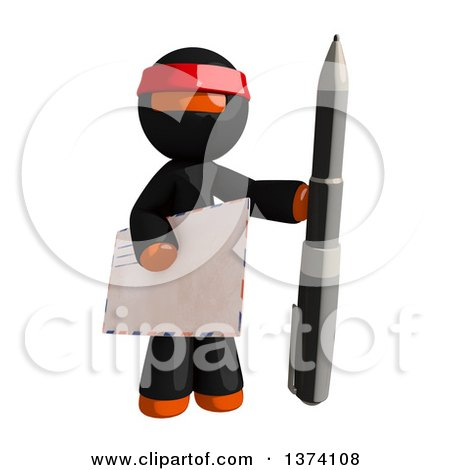 Clipart of an Orange Man Ninja Holding an Envelope and Pen, on a White Background - Royalty Free Illustration by Leo Blanchette