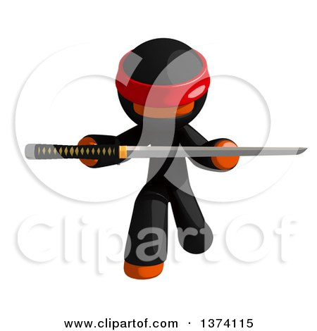Clipart of an Orange Man Ninja Holding a Katana Sword, on a White Background - Royalty Free Illustration by Leo Blanchette
