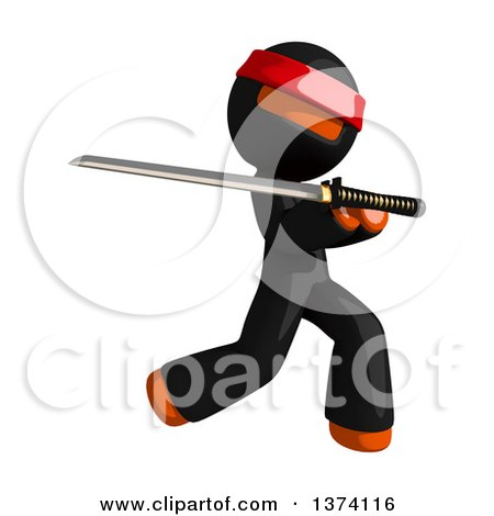 Clipart of an Orange Man Ninja Using a Katana Sword, on a White Background - Royalty Free Illustration by Leo Blanchette