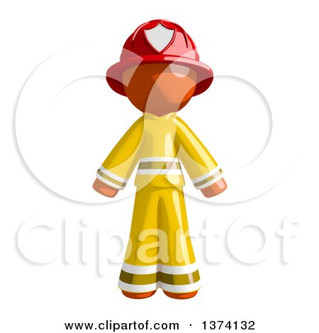 Clipart of an Orange Man Firefighter, on a White Background - Royalty Free Illustration by Leo Blanchette