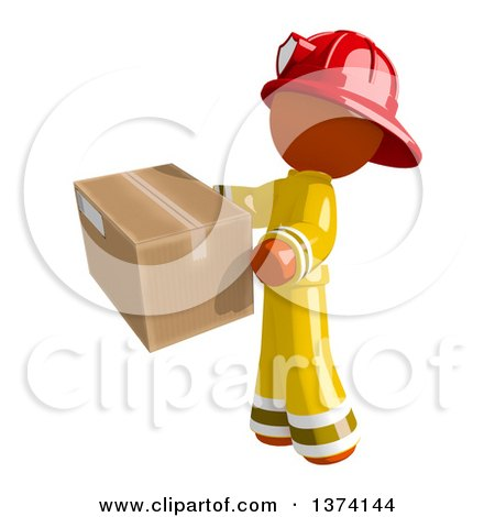 Clipart of an Orange Man Firefighter Holding a Box, on a White Background - Royalty Free Illustration by Leo Blanchette